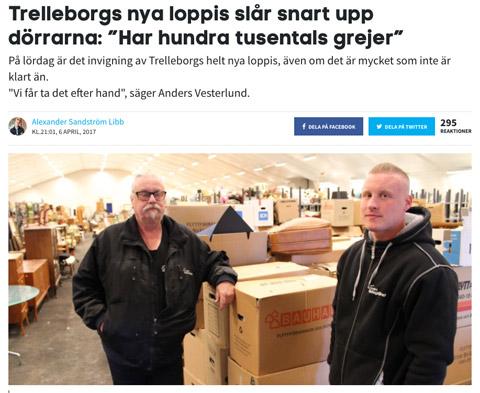 Artikel i 24 Trelleborg om ny loppis