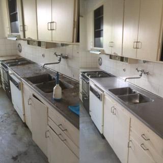 Före-, och efterbild på städat kök i Malmö