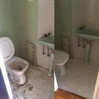 Före-, och efterbild på städad toalett i Malmö